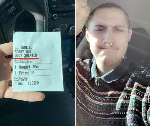 Thực khách đăng ảnh phiếu mua hàng và chiếc áo len mình mặc hôm đó. Ảnh: Twitter.