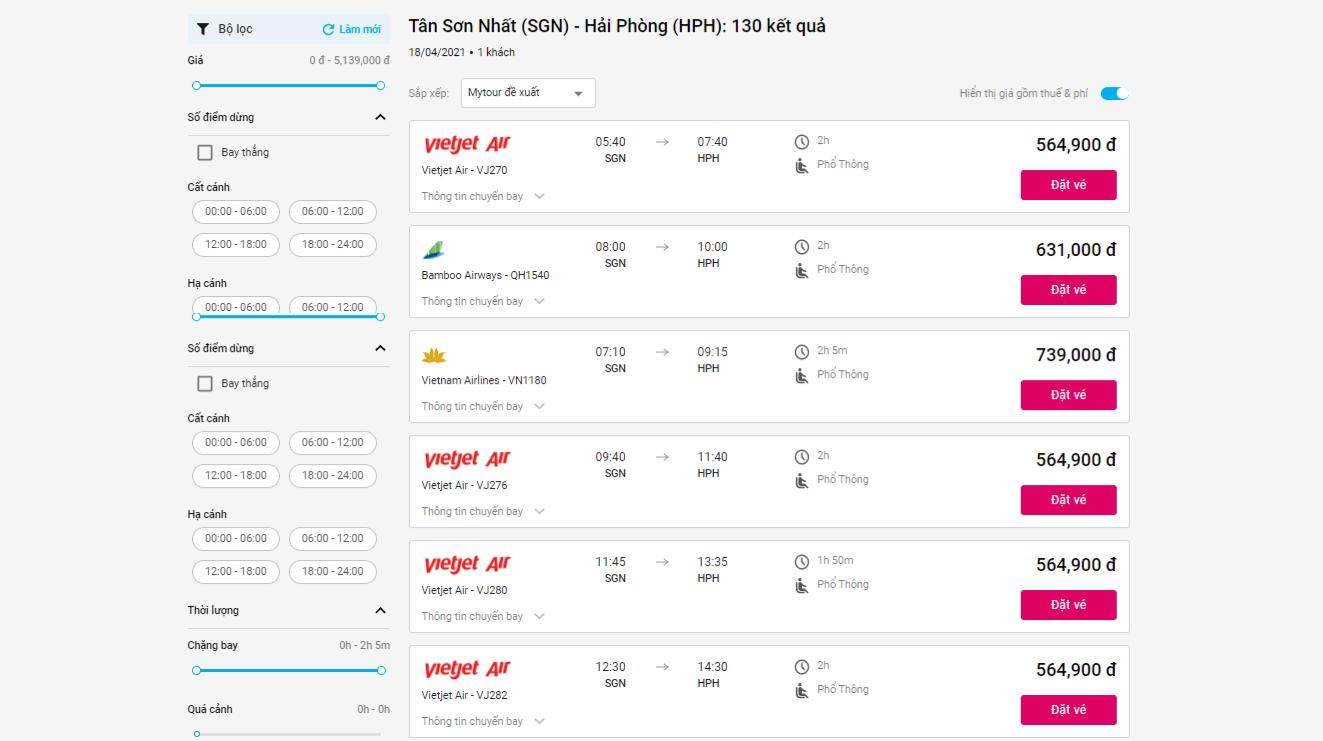 chuyến bay Sài Gòn Hải Phòng