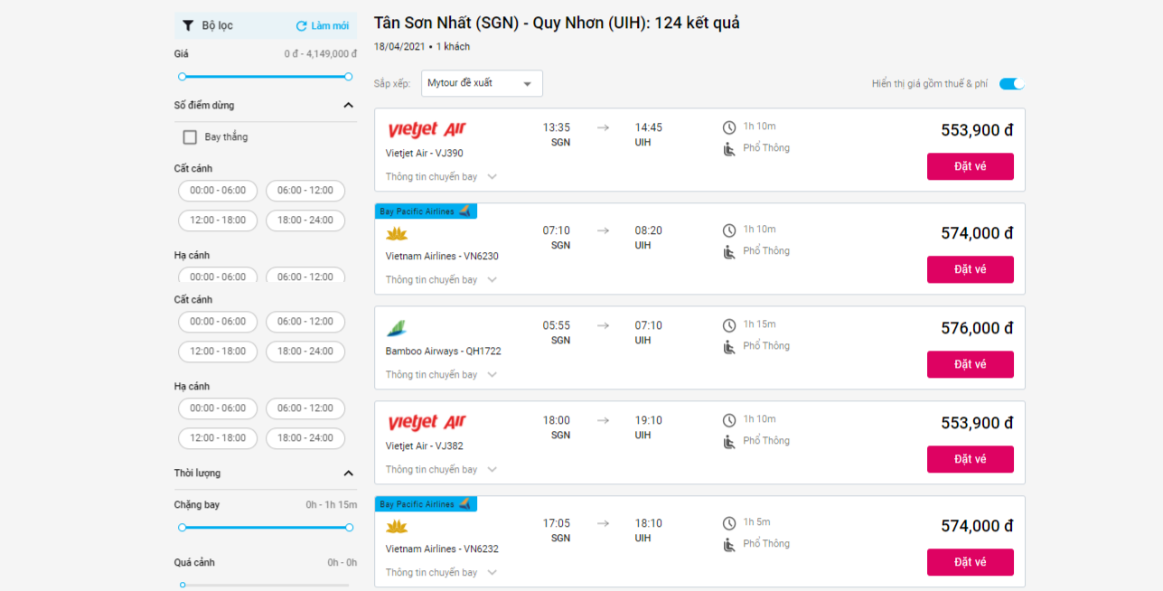 chuyến bay Sài Gòn Quy Nhơn